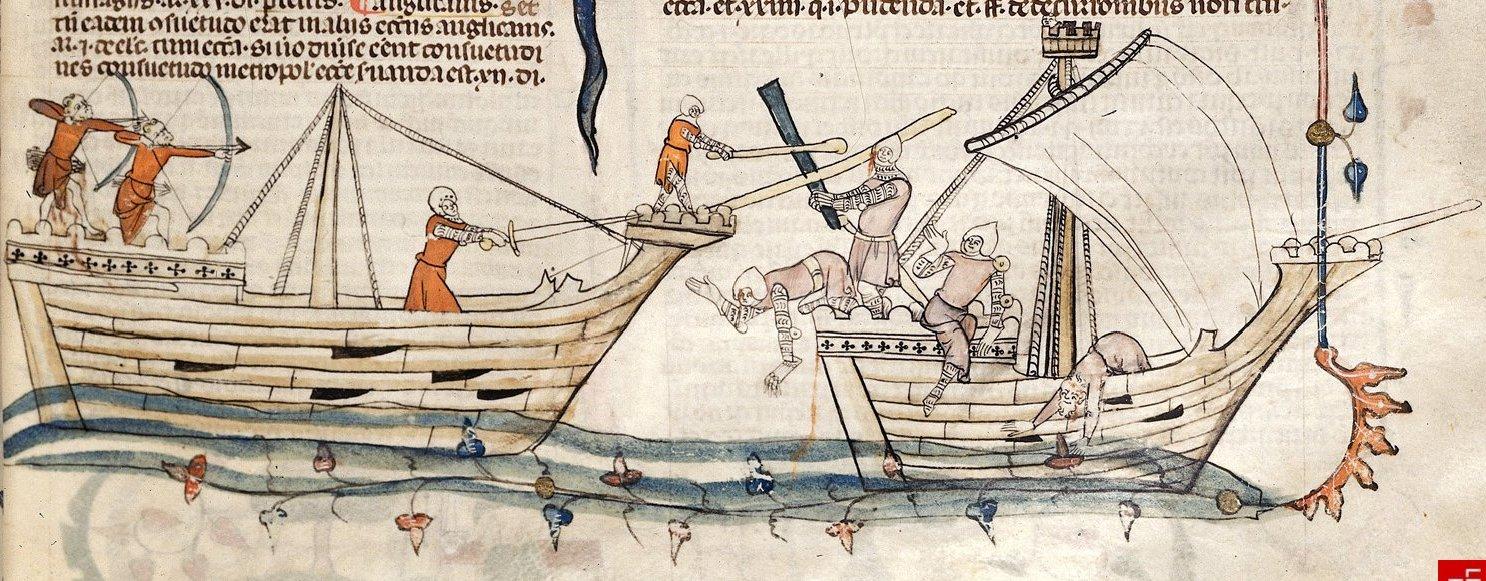 Combattimento tra due navi medievali