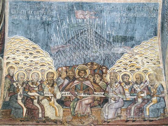 il-primo-concilio-di-nicea-affresco-della-chiesa-di-stavropoleos-bucarest-romania