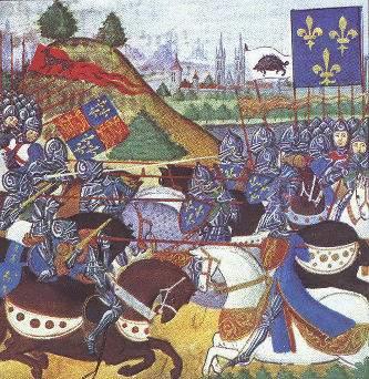 manoscritto-francese-della-fine-del-xv-secolo-raffigurante-i-cavalieri-francesi-vittoriosi-a-patay-gli-inglesi-pero-non-combattevano-a-cavallo