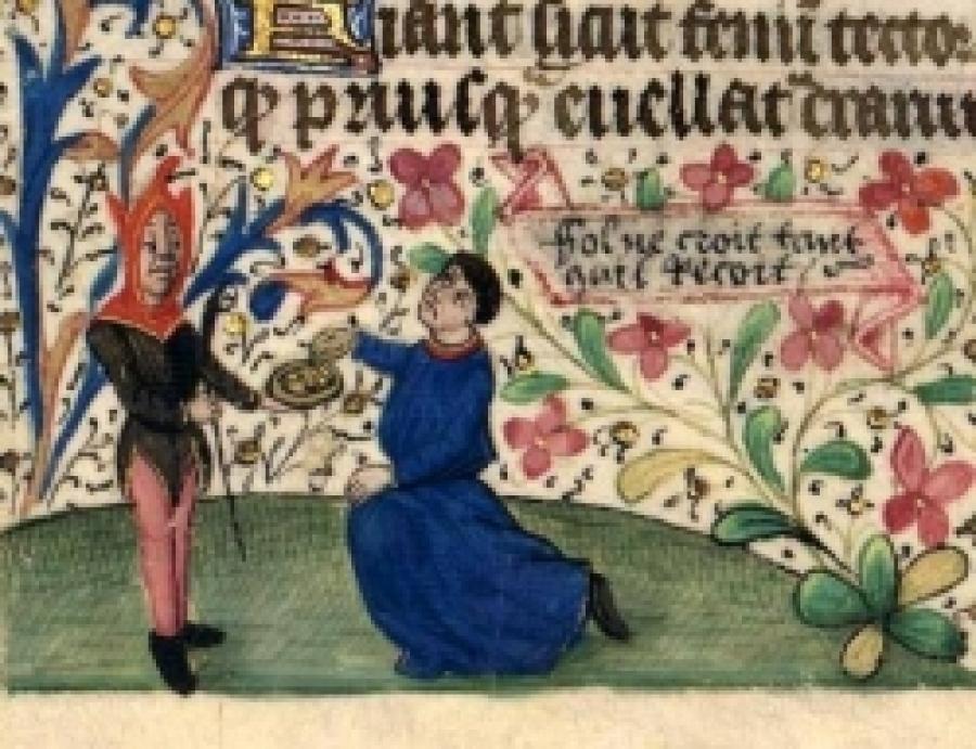 Una immagine del Livre des heures avec Proverbes, della  metà del XV secolo raffiguara il giullare che non crede se non riceve