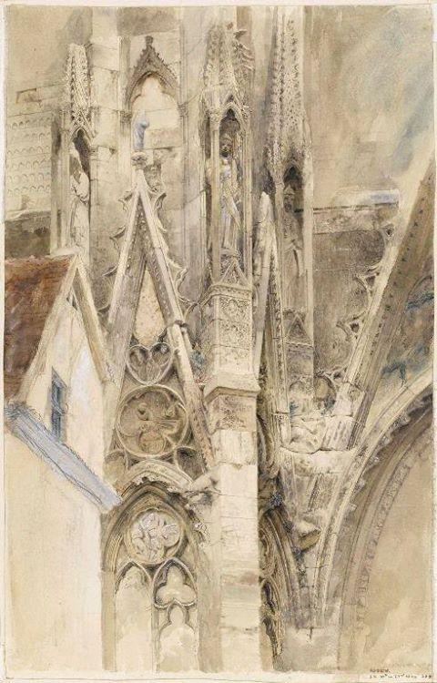 John Ruskin, Ingresso al transetto meridionale della Cattedrale di Rouen, 1854