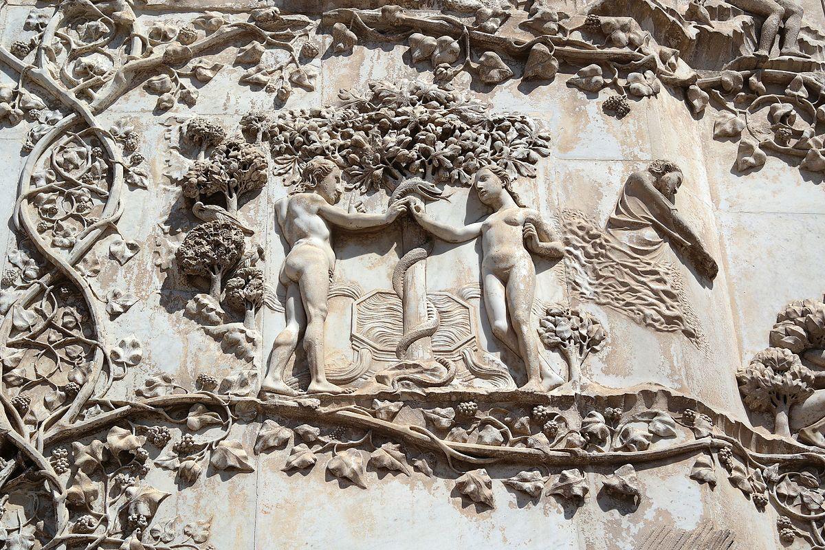 Orvieto, Duomo, Pilastri istoriati, dettaglio del Peccato Originale