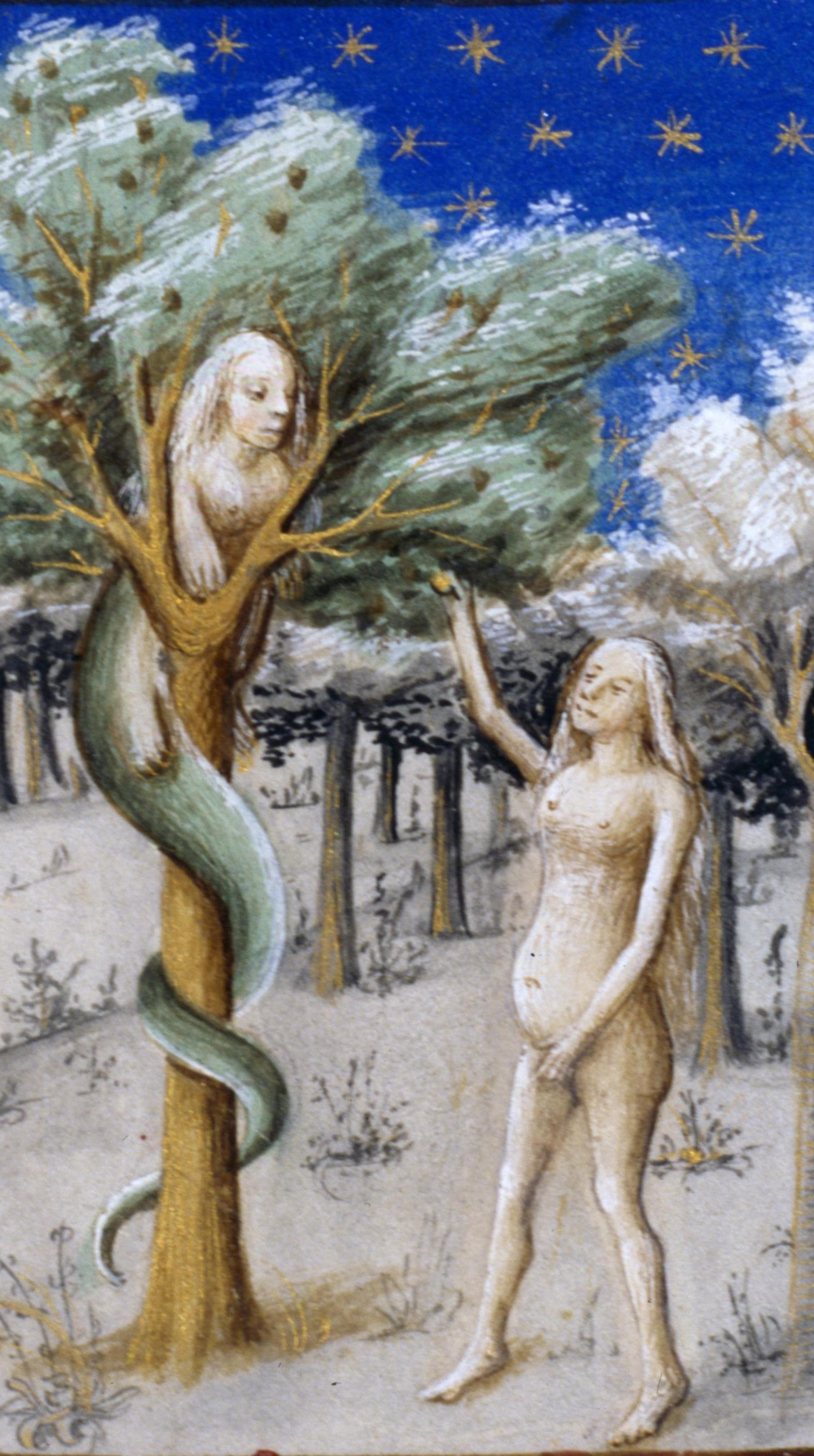 le-miroir-de-humaine-salvation-1455-di-ludolphus-de-saxonia-autore-presunto-eva-tentata-dal-diavolo-nelle-sembianze-di-serpente