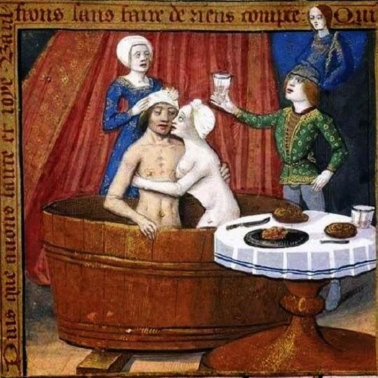 miniatura-raffigurante-un-uomo-ed-una-donna-che-condividono-il-bagno