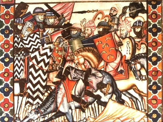 una-battaglia-tra-cristiani-e-mori-in-un-manoscritto-spagnolo-del-secolo-xiii