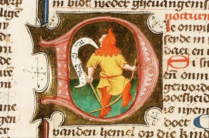 iniziale-d-miniatura-con-giullare-tratta-da-storie-della-bibbia-1443-koninklijke-bibliotheek-laia