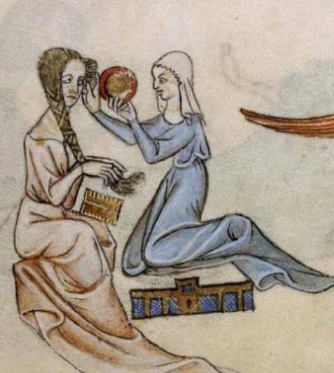Donna che si pettina (Salterio di Luttrell)