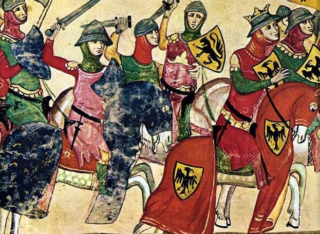 Enrico IV di Franconia, miniatura tratta dalle cronache di Giovanni Villani, Codice Chigi alla Biblioteca Vaticana