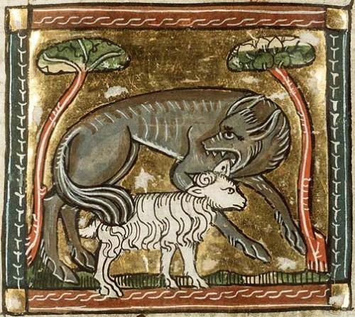 Miniatura con il lupo e l'agnello