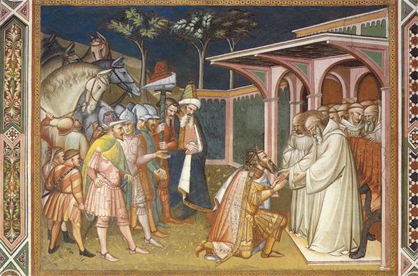 Totila e san Benddetto di Spinello Aretino, San Miniato al Monte, Firenze