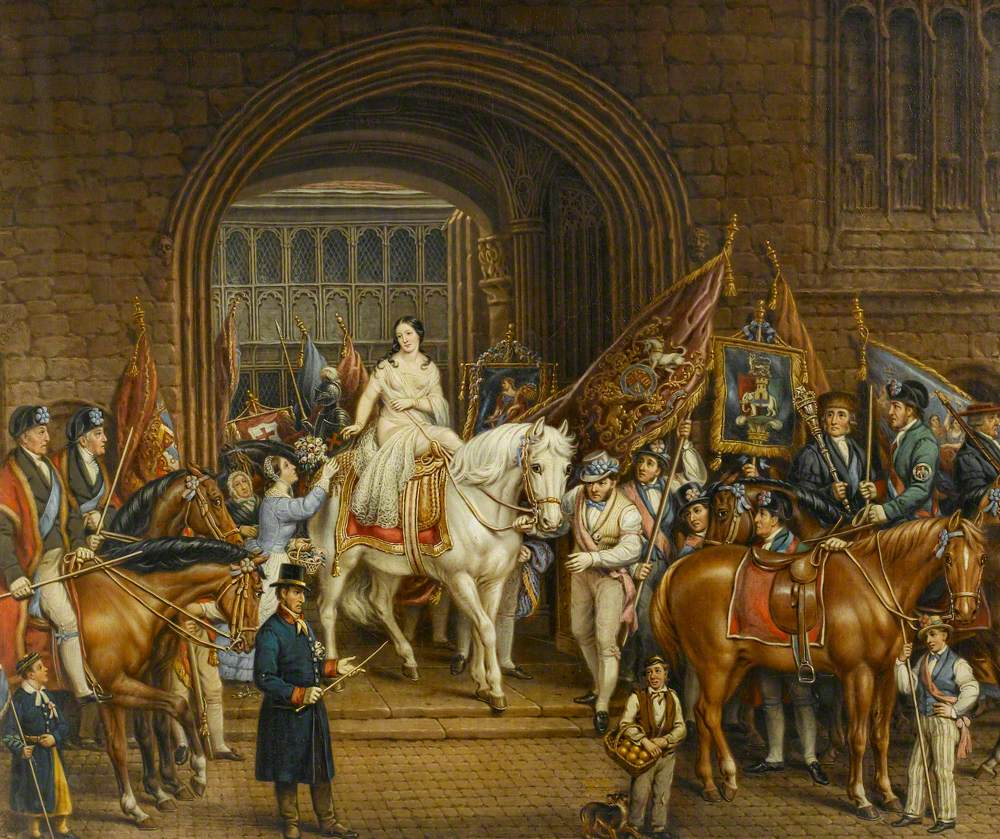 Gee, David; The Lady Godiva Procession of 1829, Coventry; Herbert Art Gallery & Museum; http://www.artuk.org/artworks/the-lady-godiva-procession-of-1829-coventry-55250